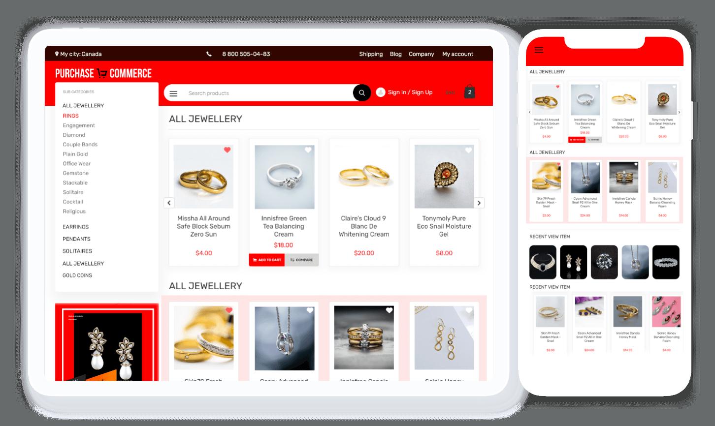 jewellery ecommerce website templates